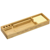 Branded Wooden Desktop Organiser made from bamboo with sticky note pad by Total Merchandise
