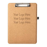 Branded Cork Clipboard in light brown colour engraved with a logo by Total Merchandise