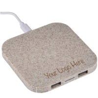 Branded Wheat Straw Composite Wireless Charging Station in brown printed by Total Merchandise