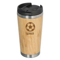 Branded Talca Bamboo Travel Mugs in light brown with engraved logo by Total Merchandise