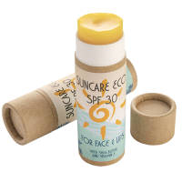 Branded SPF30 Eco Sunscreen Sticks in a natural colour with printed label by Total Merchandise