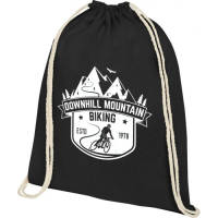 Printed Oregon Cotton Drawstring Backpack in Black with logo design on front by Total Merchandise