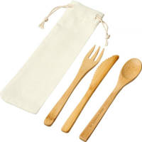 Promotional Eco-friendly Bamboo Cutlery Set in Natural colours with branding by Total Merchandise