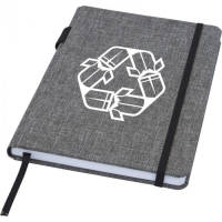 Branded A5 RPET Notebooks in a heather grey colour with printed logo by Total Merchandise