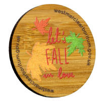 Branded Bamboo Fridge Magnets cut to any shape with full colour print by Total Merchandise