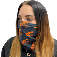 Branded Express Snood Face Masks in White with all over printed design by Total Merchandise