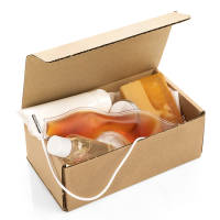 Branded Little Wellbeing Box in a natural colour with promotional items inside by Total Merchandise