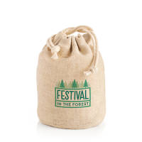 Promotional Small Natural Hemp Bags in brown colour with full colour print by Total Merchandise