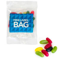 Promotional Jelly Beans in a transparent bag with a full colour label from Total Merchandise