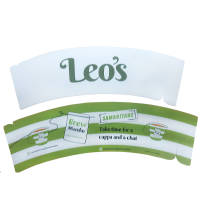 2 sizes of custom printed recyclable Card Cup Sleeves printed with a logo by Total Merchandise