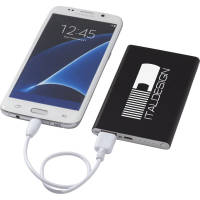 Custom branded 4000 mAh Pep Metal Power Banks with a printed logo to one side from Total Merchandise