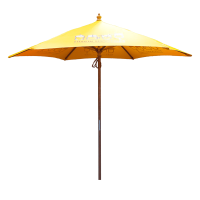 Custom promotional 2.5m Wooden Parasol with a logo printed to the panels