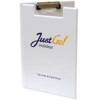 Promotional A4 Clipboard Folders in white with printed logo on the front by Total Merchandise
