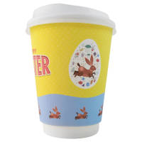 Promotional Double Walled Paper Cups with White Lids Printed with a Logo by Total Merchandise