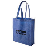 Custom Branded Kansas Non Woven Tote Bags in Blue with Logo Printed on Front by Total Merchandise