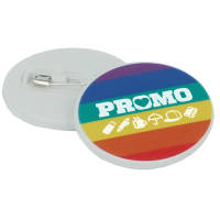 Promotional Rainbow 37mm Pin Badges in White with Full Colour Print by Total Merchandise