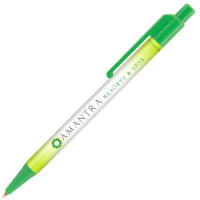 Branded Astaire Antimicrobial Ballpens in green with printed logo design by Total Merchandise