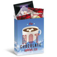 Promotional Eco Hot Chocolate Survival Box packed with items with logo print by Total Merchandise