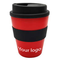 Promotional Milano Mini Reusable Coffee Cups in red/black with logo by Total Merchandise