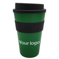 Branded Milano Reusable Coffee Cups in green/black with logo by Total Merchandise