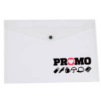 Promotional A5 Popper Document Wallets in clear with plastic popper by Total Merchandise
