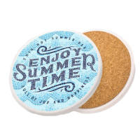 Custom Ceramic Coasters in white with cork backing printed in full colour by Total Merchandise