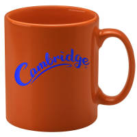 Promotional Orange Cambridge Mugs with spot colour printed logo design by Total Merchandise