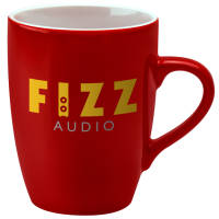 UK Branded Red Marrow Duo Mugs in Red/White Printed with a Logo by Total Merchandise