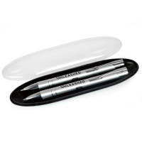 Promotional Beck Pen and Pencil Sets in silver with printed logo design by Total Merchandise