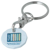 Branded Recycled Biodegradable Plastic Trolley Coin Keyrings in sky with logo by Total Merchandise
