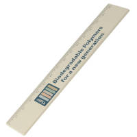 Promotional Recycled Biodegradable Plastic 15cm Rulers in Sand with logo print by Total Merchandise
