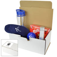 Promotional Wellbeing Gift Sets with Bottle, Eye Mask, Chocolates, Stress Ball & Colouring Set
