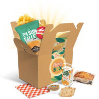 Promotional Picnic Lunch Boxes in Kraft with sweets and drinks inside box by Total Merchandise