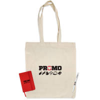 Promotional Event Bag Bundles with a Tote Bag, Red Notebook and Antibacterial Pen with A Logo