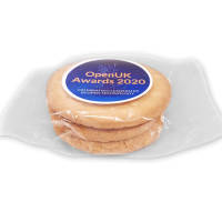 Full colour printed Large Biscuits in a clear wrapper with label printed by Total Merchandise
