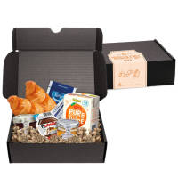 Branded Breakfast Boxes in Black with multiple items inside by Total Merchandise