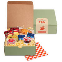 Promotional Afternoon Tea Boxes in a pastel green eco-friendly box with items from Total Merchandise