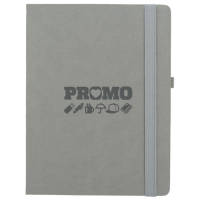 Promotional Calista Quarto Notebooks in Grey Debossed with a Company Logo by Total Merchandise