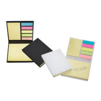 Promotional Desk Buddy in Black and White with sticky notes inside by Total Merchandise
