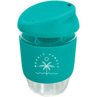 UK Express Printed Kiato Reusable Glass Coffee Cups in Teal from Total Merchandise