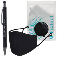 Promotional UProtect® Antimicrobial Face Mask & Stylus Pen Sets in Black from Total Merchandise