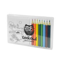 UK Printed 8 Piece Colouring Sets in Transparent with a Logo on the Case from Total Merchandise