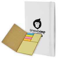 UK Branded Sticky Note & Page Flag Set in White Printed with a Logo by Total Merchandise