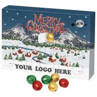 Promotional Eco Advent Calendars Filled with Chocolate Balls and Printed by Total Merchandise