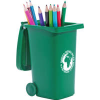 Green Promotional Recycled Wheelie Bin Pen Pots Printed & Made in the UK from Total Merchandise
