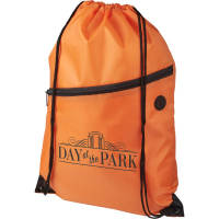 Logo Printed Oriole Zippered Drawstring Bags in Orange from Total Merchandise