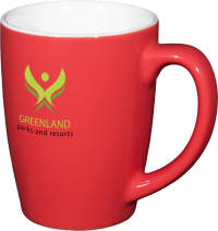 Custom Branded Mendi Mugs in Red with a White Interior and Printed with a Logo by Total Merchandise