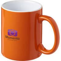 Custom Printed Java Mugs in Orange/White Ceramic Duo Mugs Branded with a Logo by Total Merchandise