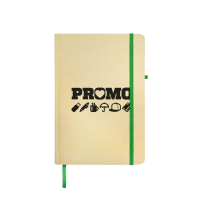 Branded Borrowdale Hardback Notebooks in Natural/Green Printed with a Logo by Total Merchandise