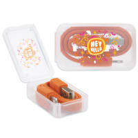 Branded 2-in-1 USB Charging Cables in Orange Printed with a Logo to the Case by Total Merchandise